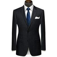 Nieuwe Bespoke Mens Suits Classic Terno Slim Zwart Navy Gestreepte Mens Custom Made Suits Bruiloft Bruidegom Tuxedos 2 Stuks Jas + broek