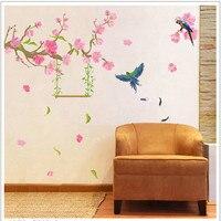 Grandes pegatinas de pared de estilo chino plum blossom birds flwoers pegatinas de pared muebles de dormitorio sala de estar decoración
