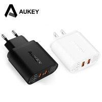 Aukey 2ポートクイックチャージャー2.0 usbスマート壁充電適応米国euプラグ付きマイクロusbデータケーブル用ソニーlg iphone xiaomi