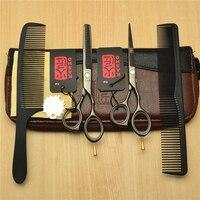 4Pcs Set 5 5 16cm Japan Kasho 440C Black Professional Human Hair Scissors Hairdressing Cutting Shears
