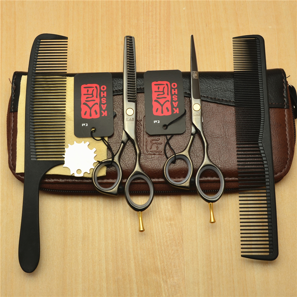 4Pcs Set 5.5'' 16cm Japan Kasho 440C Black Professional Human Hair Scissors Hairdressing Cutting Shears Thinning Scissors H1014 delicate silver cuff bracelet for women page 4