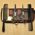 4Pcs Set 5.5'' 16cm Japan Kasho 440C Black Professional Human Hair Scissors Hairdressing Cutting Shears Thinning Scissors H1014