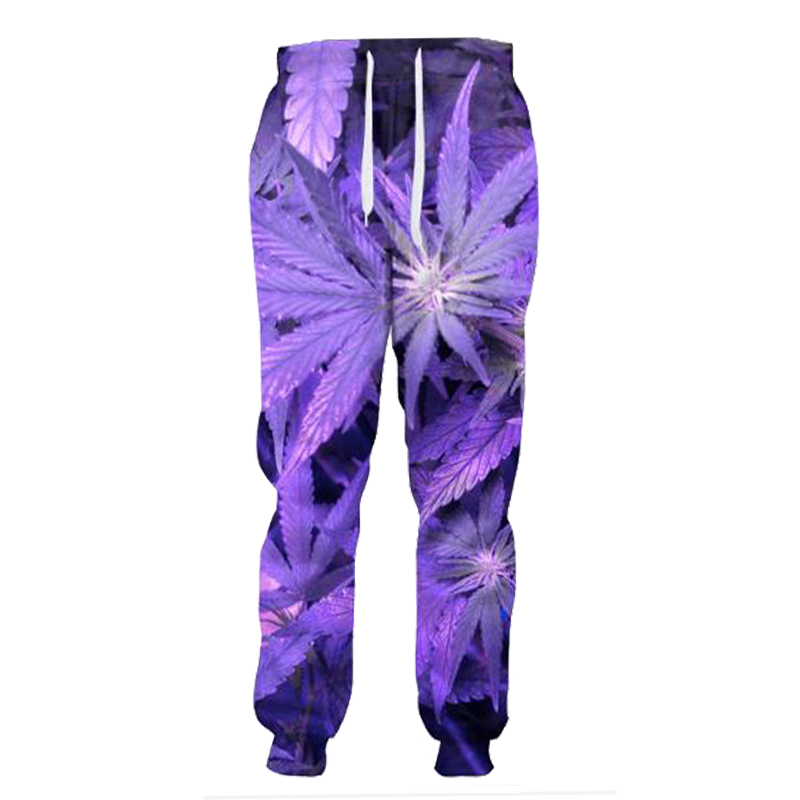 Future Purple Weed Leaf Joggers Full Length Trousers Fashion Plant 3d Pants Men Casual Sweatpants