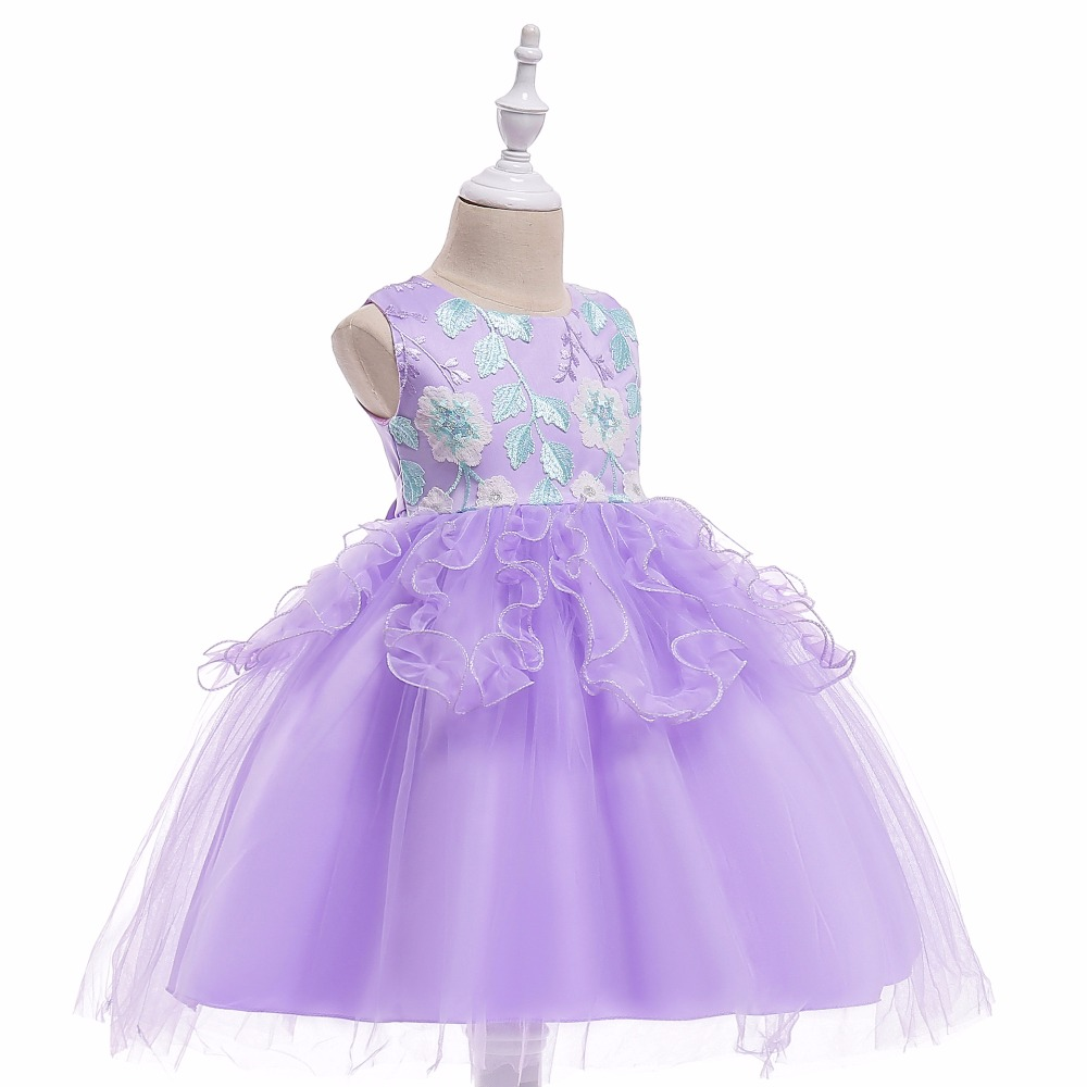 New Flower Girl Dresses Bowknot Sequin Real Party Pageant Communion Dress Little Girls Kids Tulle Prom Gown for Wedding