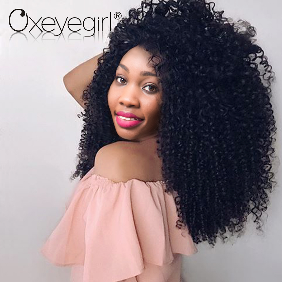 """Oxeye girl Afro Kinky Curly Weave Human Hair Bundles Brazilian Hair Extensions 1 Piece 10""""-28"""" Remy Hair Bundles Natural Color"""