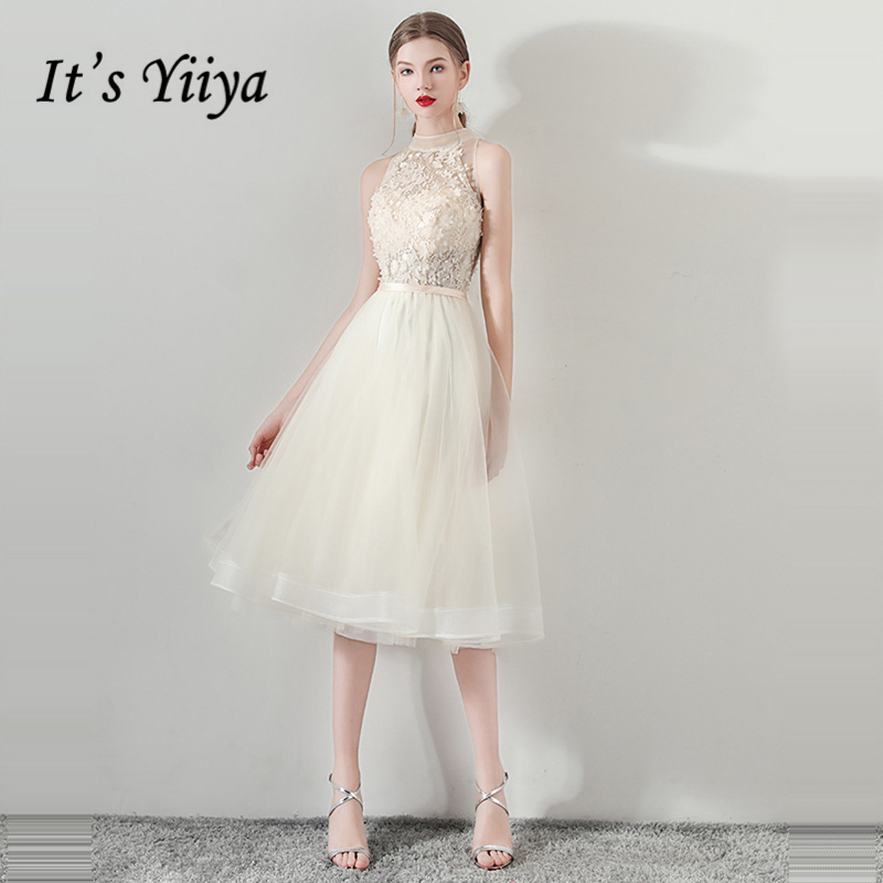 It's Yiiya   Prom     Dresses   Girls Sleeveless Flower   Prom   Gowns A-Line Knee Length Elegant Party   Dresses   Formal   Dresses   LX1047
