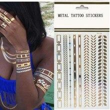 1Pcs Flash Tattoo Gold Henna Bracelet Metallic Tattoo Gold Silver Color Statements Golden Tattoo Temporary Tattoo