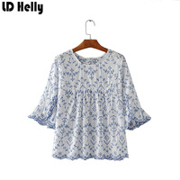 LD Helly European Stlye Women Hollow Out Floral Embroidery Blouses Tops Latest O Neck Ruffles Flare