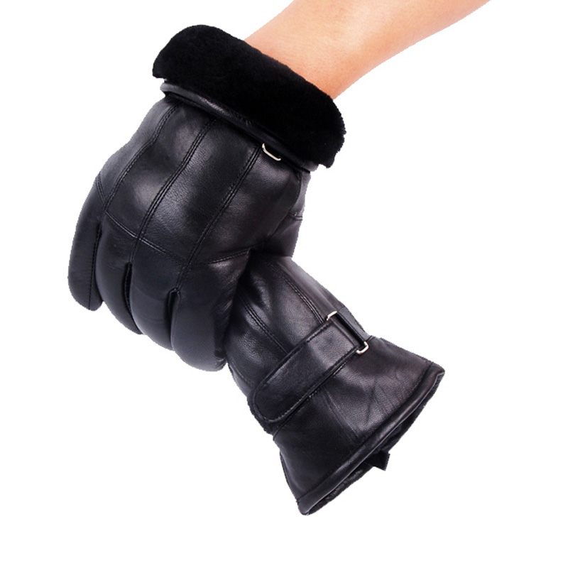 Luvas de couro real masculino luvas de inverno couro na moda pele de carneiro gentmen luvas guantes mujer inverno novo 2019 engrossar luva