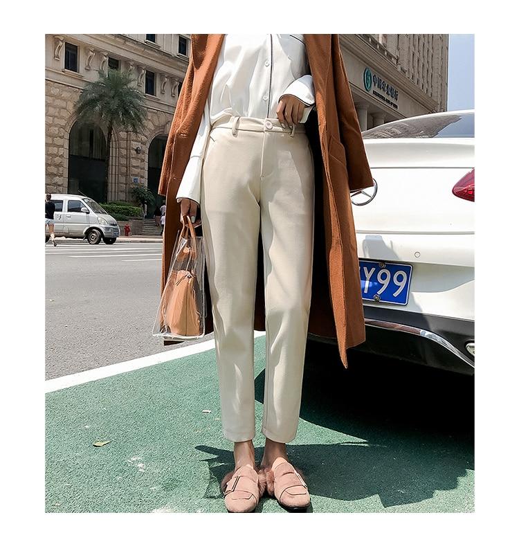 19 Autumn New Women Elastic Woolen Pant Female Plus Size Casual Trousers Black/Gray Harem Pants Winter Wool Ankle-Length Pants 21