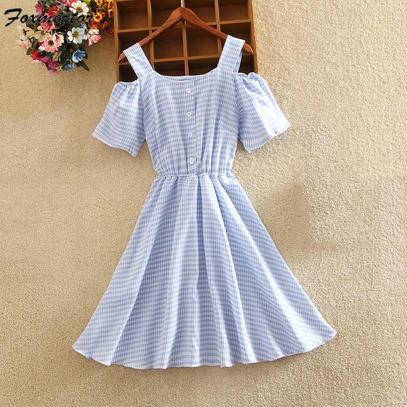 Летнее женское платье 2019 Женская мода с коротким рукавом с открытыми плечами клетчатая Синяя Женская рабочая одежда мини-платье женские милые платья S-2XL