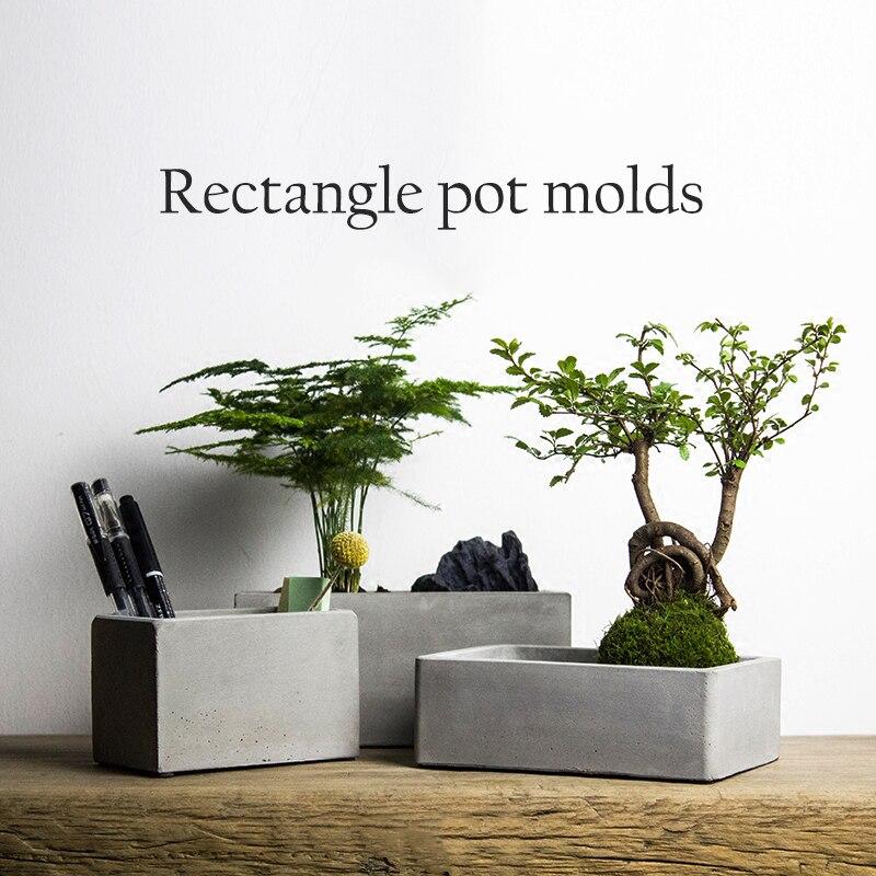 Moldes de maceta de flores rectangulares moldes de silicona para hormigón y hormigón-in Moldes de arcilla from Hogar y Mascotas    1