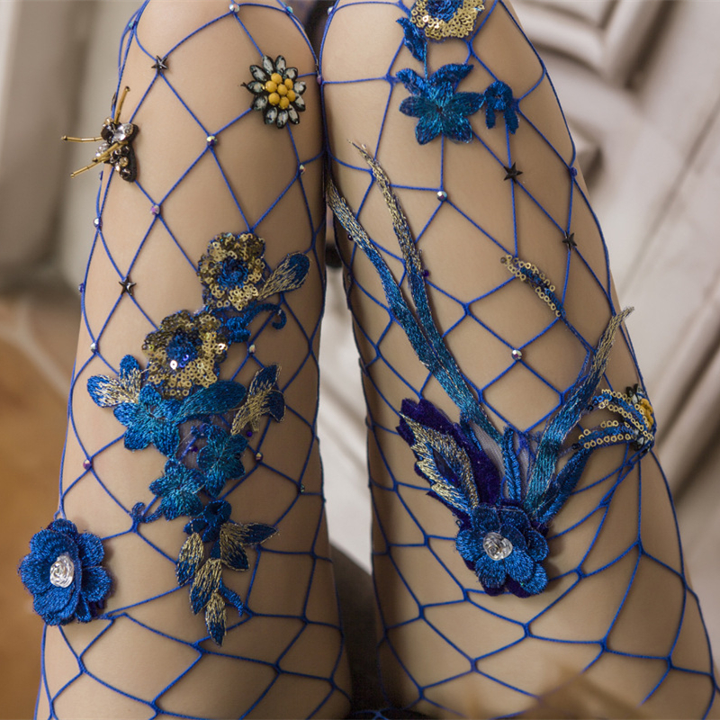 Girls Women Sexy Fishnet Pantyhose Blue Flower Embroidery Mesh Stockings Slim Tights Lady Elastic Stockings Collant Summer 2018