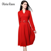 Vintage Ol office Dress V neck Plus size 4XL long fat mm Slim temperament fashion Female Red Office Party Fitted Swing Dress