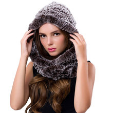 Winter Scarves Fur With Genuine Fur Hats For Women New Luxury Fur Scarf Female Elegant Knit Real Rex Rabbit Fur Scarves Hooded