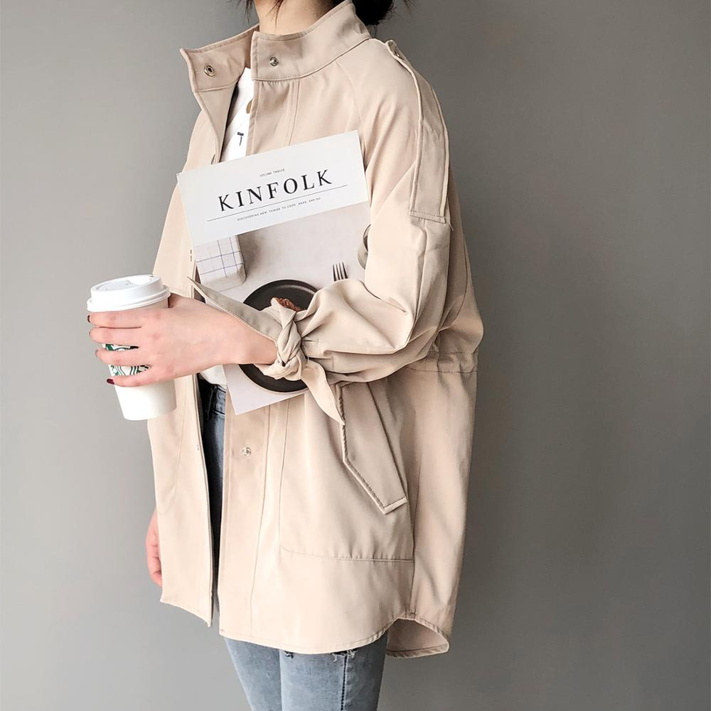 2019 Woman Short Fund Windbreaker Casual Student Clothes Easy Loose Coat Moda Mujer   Trench   Coat Outwear
