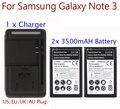Alta capacidad 2 x 3500 mah batería para Samsung Galaxy Note 3 batería + cargador de pared USB para nota 3 III N9000 N9005 N900A caliente
