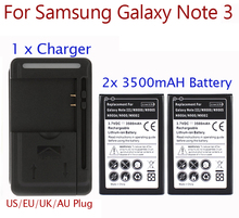 High Capacity 2x 3500mah Battery For Samsung Galaxy Note 3 Battery + USB Wall Charger for Note 3 III N9000 N9005 N900A Hot