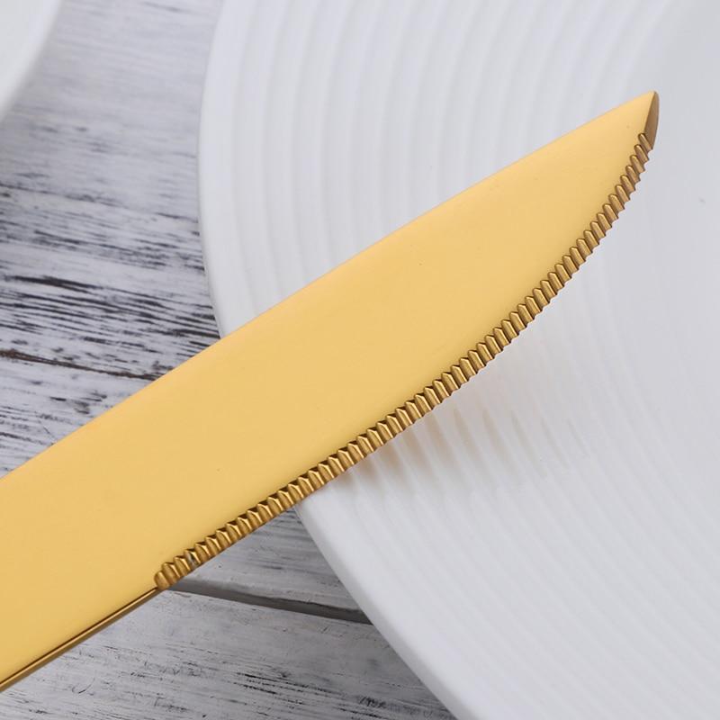 New 24Pcs Black Gold Flatware Set Stainless Steel Cutlery Set Luxury Knife Fork Set Western Tableware Used In Party/Restaurant
