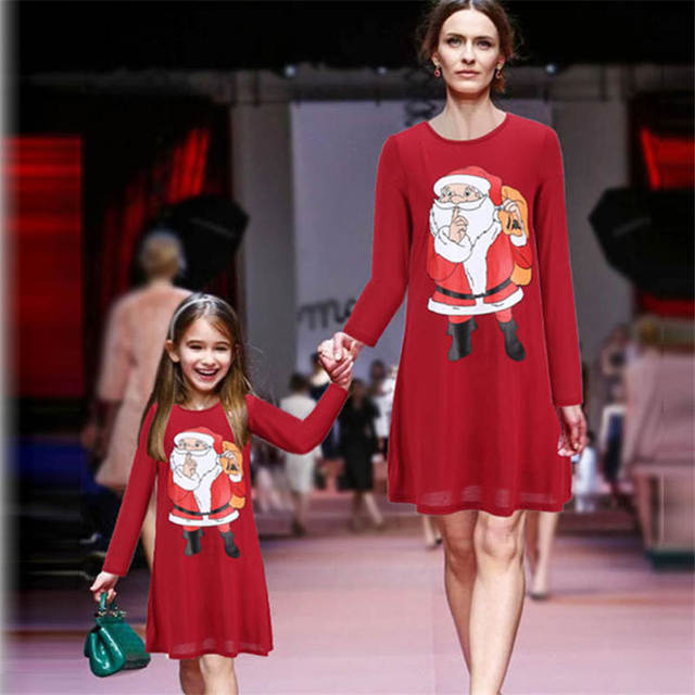 autumn winter christmas dress family clothing matching mother daughter dresses mommy and me clothes pajamas girl