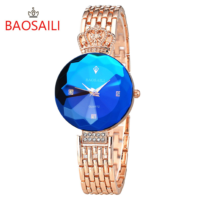 BAOSAILI Sapphire Gold Women Watch Luxury Famous Brand Women Dress Watches Stainless Steel Crown Luxury Ladies Quartz Watches baosaili famous brand women quartz analog watches gold stainless steel wristwatch hollow lady gift relojes luxury hodinky clock