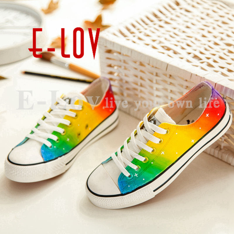 Hand Painted Rainbow Canvas Shoes New Fashion Russian Lace-Up Colorful Casual Graffiti Canvas Shoes for Men Women e lov women casual walking shoes graffiti aries horoscope canvas shoe low top flat oxford shoes for couples lovers