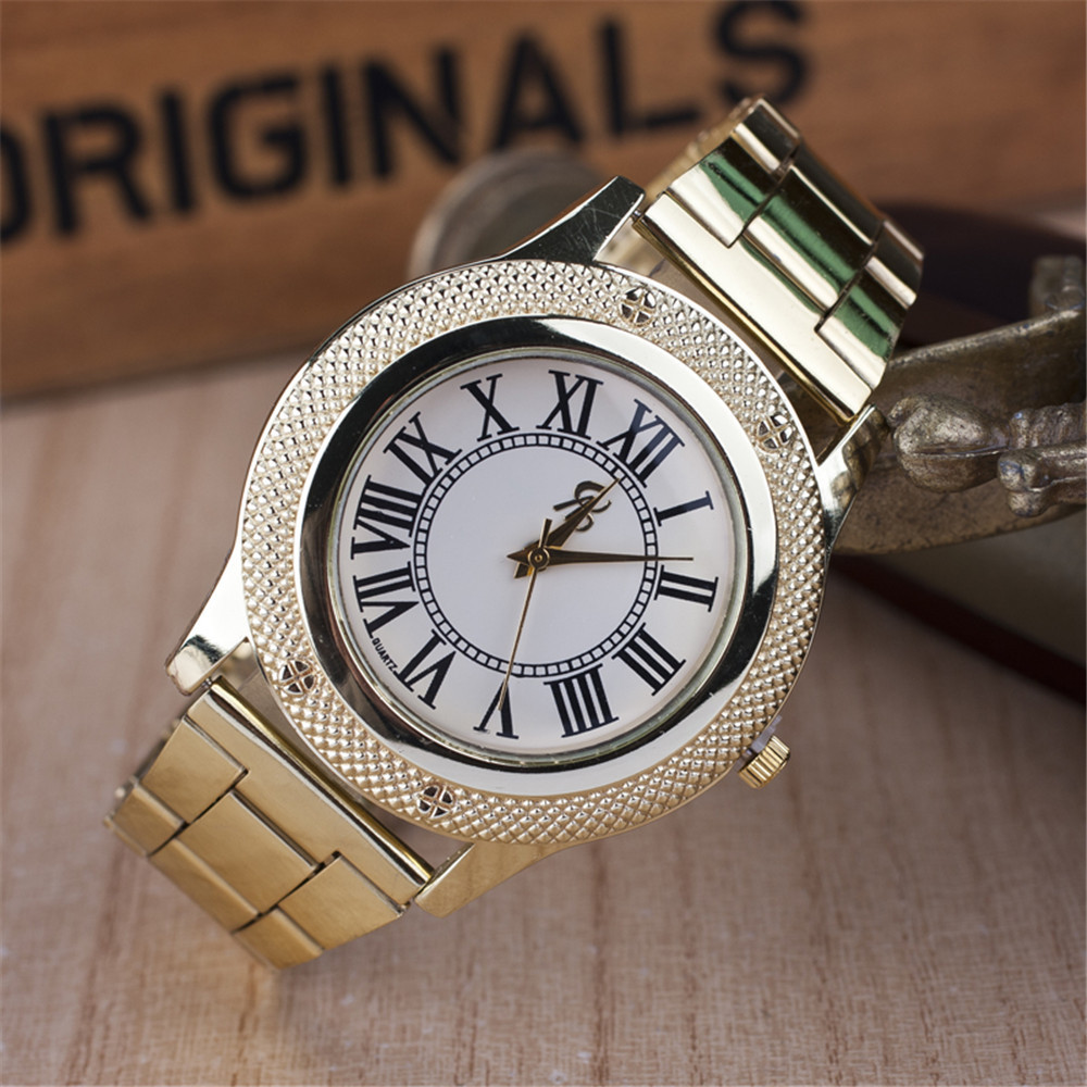 2019 New Famous Brand Women Gold Geneva Litchi Stainless Steel Quartz - Dameshorloges - Foto 2