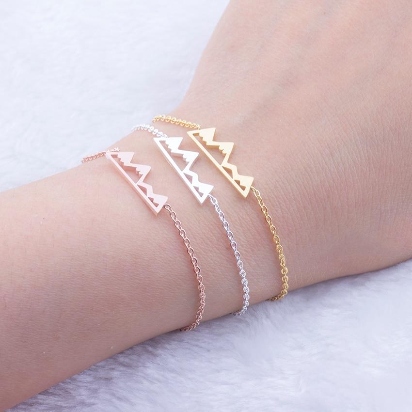 Natural Snowy Mountain Gold Color Chain Bileklik Bracelets Men Women Fashion Stainless Steel Charm Bracelet Homme Body Jewelry