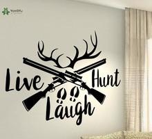 YOYOYU Vinyl Wall Decal Live Hunt Laugh Hunter Deer Hobby Living Room Art Interior Decoration Stickers FD173