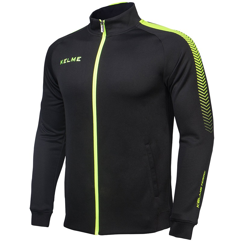 Kelme K077 Men Long Sleeve Stand Collar Breathable Windproof Sports Windbreaker Training Football Knitted Jacket Black цена