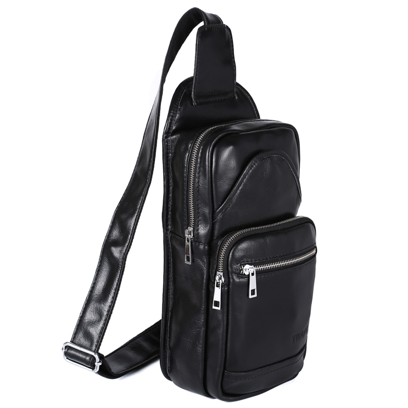 2017 hot sale Handmade Casual 100 genuine font b leather b font black bag fashion chest