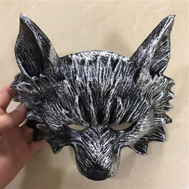 Halloween Cosplay Mask Prop Fierce Beast Black Wolf Mask 1:1 PU Movie Game Anime Cos Kids Role Play Gift Safety PU 25cm