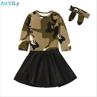 Girls Dress Long Sleeve Kids Dresses Headband 2pcs Girl Clothes Outfits Autumn Camouflage PU Stitching Children