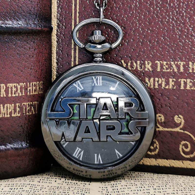 Retro Bronze Star Wars Hollow Quartz Pocket Watch Necklace Vintage Fob Pendant Clock With Chain Marvel Movie Men Children' Gift