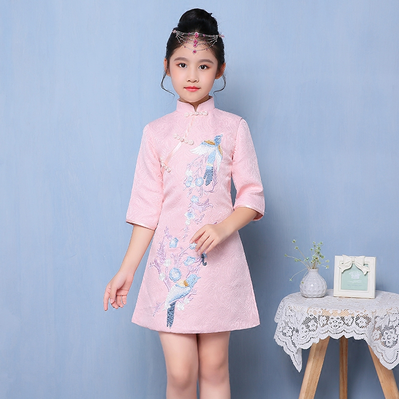 2017 winter embroidery floral birds qipao girl dress cheongsam new year gift children clothes kids dresses girls formal clothing chinese style traditional girls winter dress child tang suit embroidery cheongsam dresses robe baby qipao for new year dresses