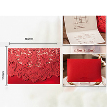 30pcs Gold Red White Laser Cut Luxury Flora Wedding Invitations Card Elegant Lace Baby Shower Event & Party Supplies