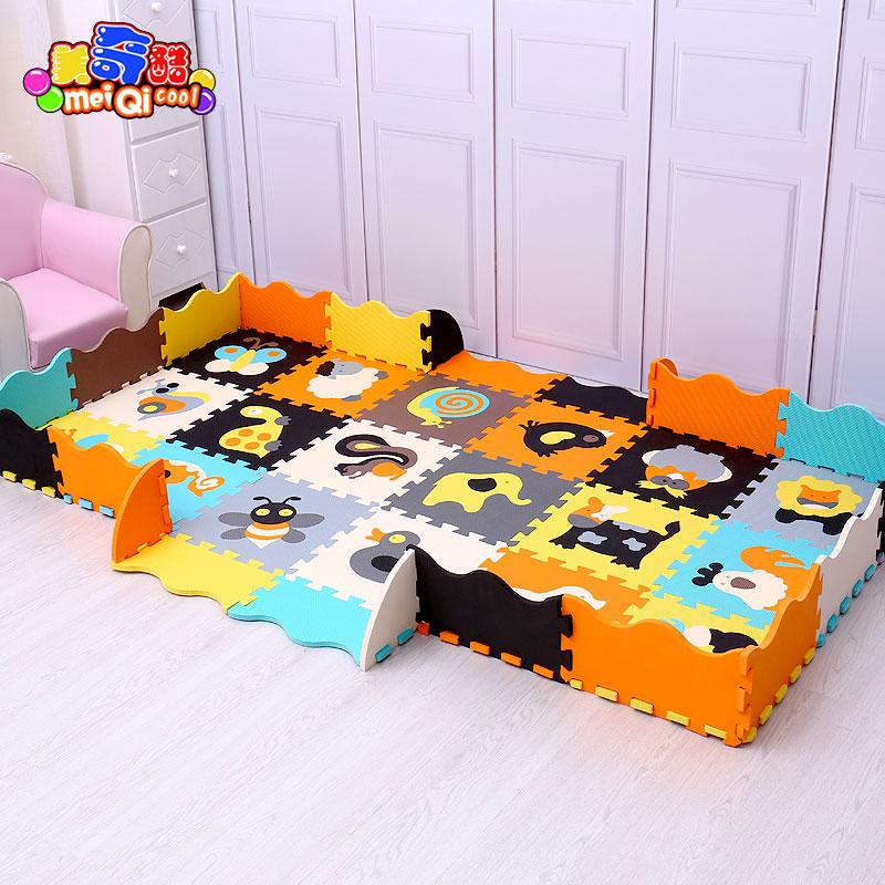 Mei Qi Cool 18pcs With Fences Baby Play Mat EVA Foam Puzzle Mat /Cartoon EVA Foam Pad / Interlocking Mats For Kids 30X30cm 1cm