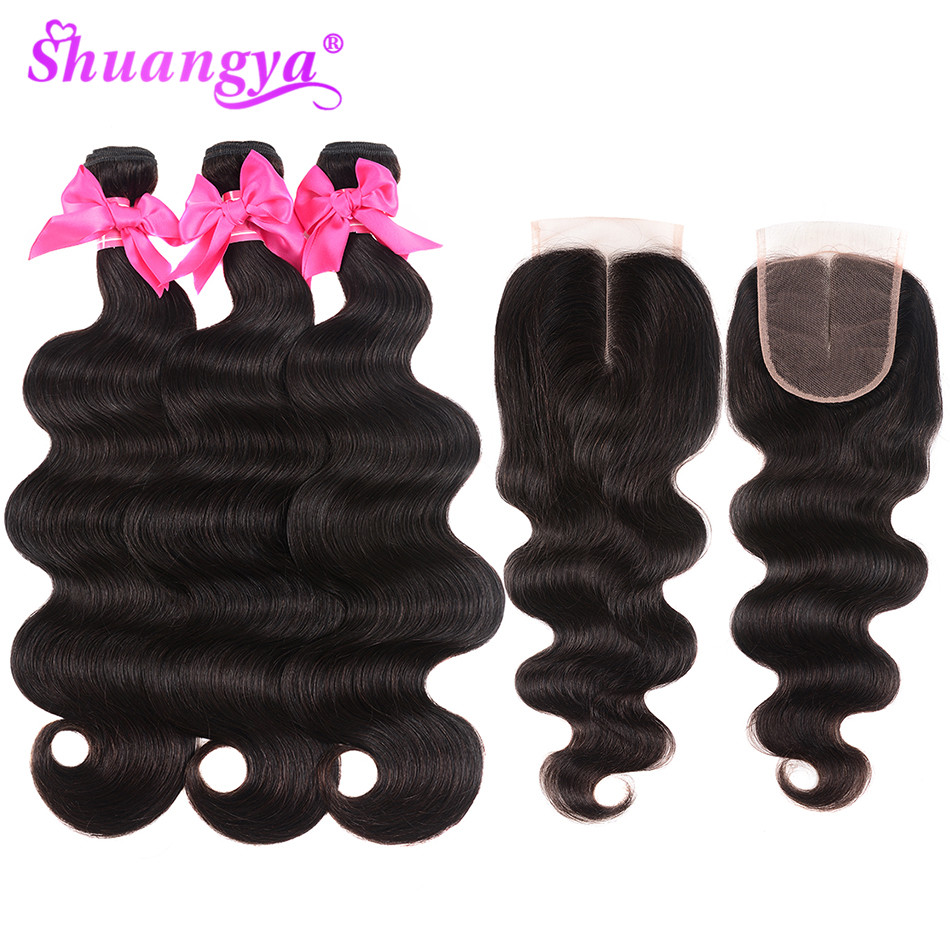 Brazilian Hair Body Wave Human Hair Bundles With Closure Middle Part 3 4 Bundles With Closure