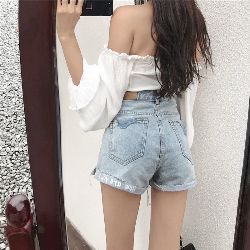 <font><b>Shorts</b></font> Women 2019 Summer Casual High Waist Denim <font><b>Short</b></font> Jeans Ripped Hole Ladies <font><b>Sexy</b></font> <font><b>Shorts</b></font> Femme Hot image