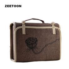 Japanese Style Portable Outdoor Travel Teaware Linen Storage Bag Lotus Tea Set Bag for Kung Fu Tea Set Quick Cup Handbag Package