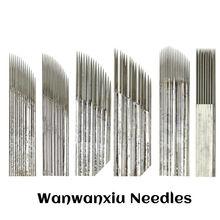 10pcs Microblading Needles 1/2/3Rows Pins Manual Fog/Line Eyebrow Tattoo Needles Permanent Makeup Tebori Embroidery Blades