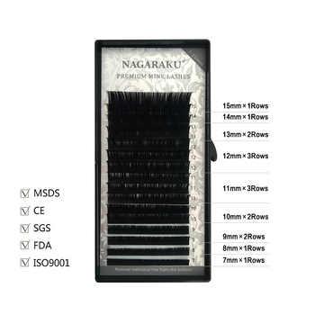 NAGARAKU Eyelash Extension Makeup Cilios 50 Cases/lot 16 Rows/case 7~15 Mix Individual Eyelash Natural Synthetic Mink Lashes