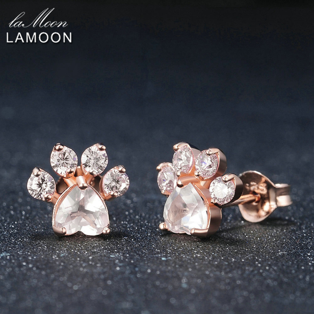 LAMOON Bearfoot 5×5.5mm 100% Natural Gemstone Rose Quartz 925 sterling-silver-jewelry Rose Gold Plated Stud Earring S925 LMEI040