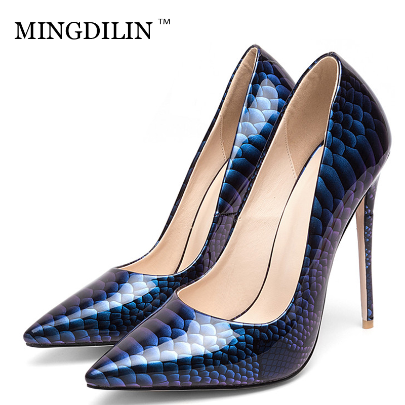 MINGDILIN Stiletto Women's Pumps High Heels Shoes Patent Leather Wedding Party Woman Shoes Plus Size 33 Pointed Toe Sexy Pumps цена