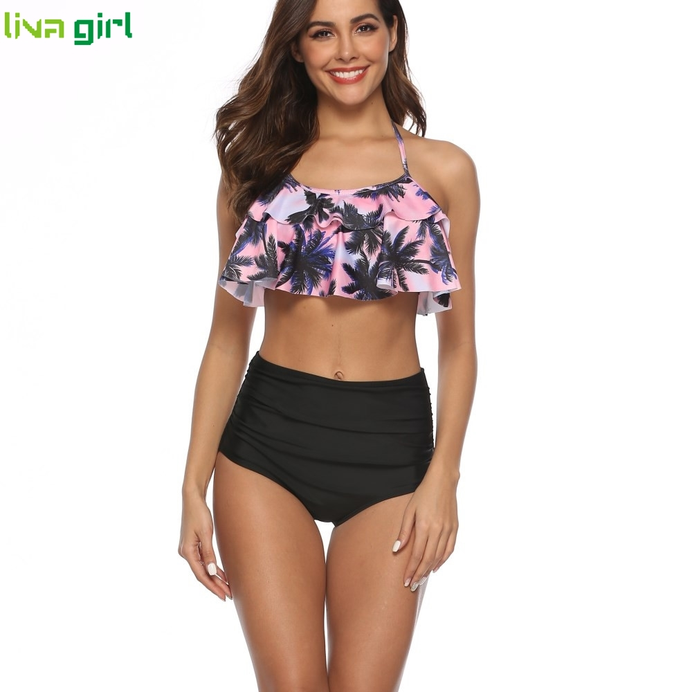 Liva Girl Swimsuit 2019 Ruffle High Waist Swimwear Female Sexy Floral Printed Bikini Tummy Control Set Beach Wear Bathing Suit