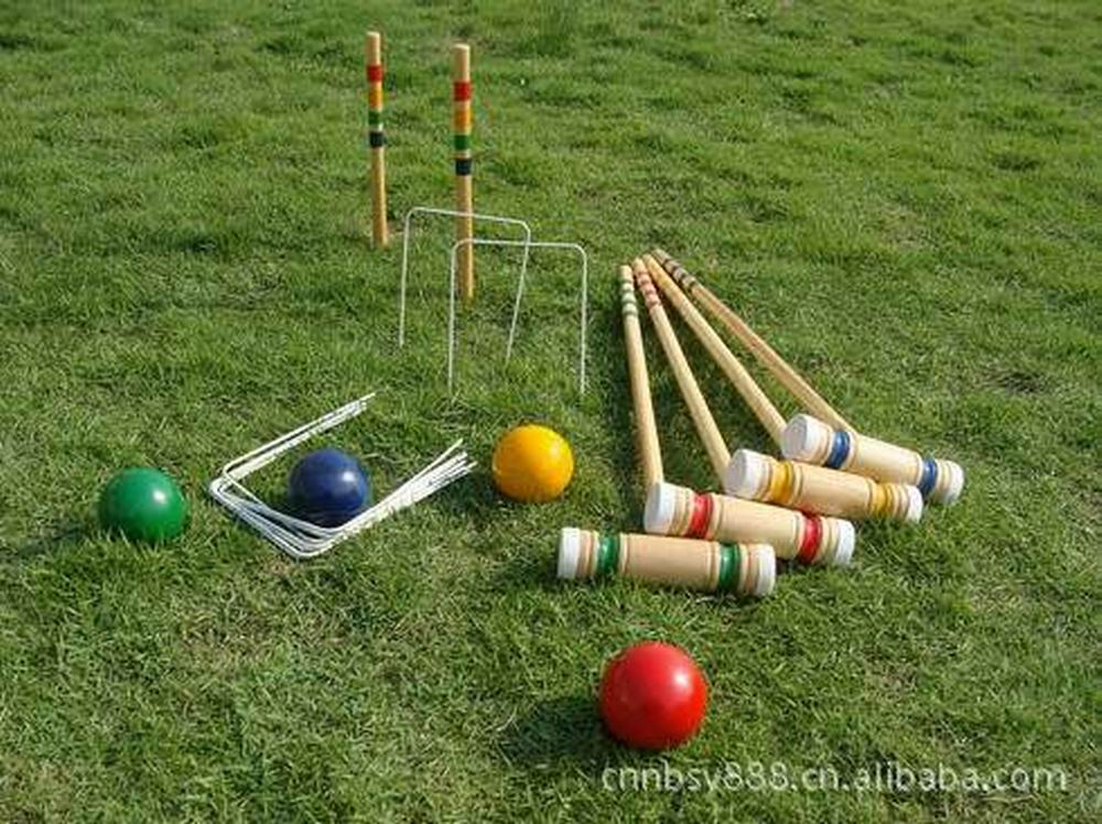Outdoor Game Sport Gate Ball Croquet Croguet Import Oak Wood Material Good Quality 1 Set For 4 Players Only