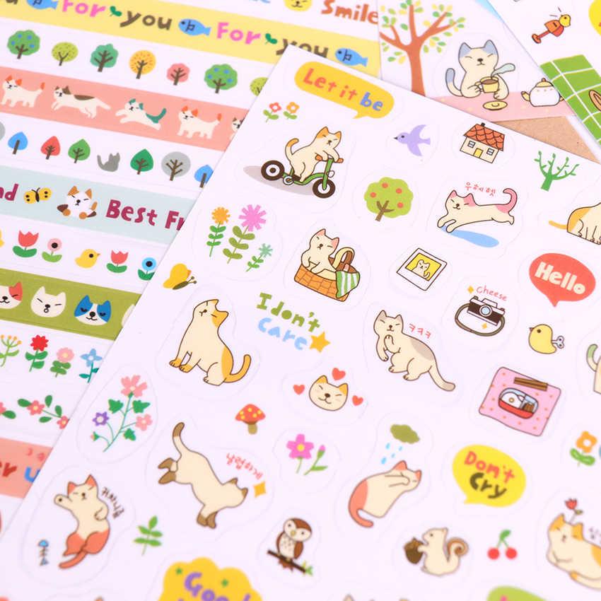 6 יח'\אריזה Creative שקוף PVC מדבקות חמוד חתול גלרית קישוט מדבקות ילדים Diy צעצוע יומן קישוט מכתבים