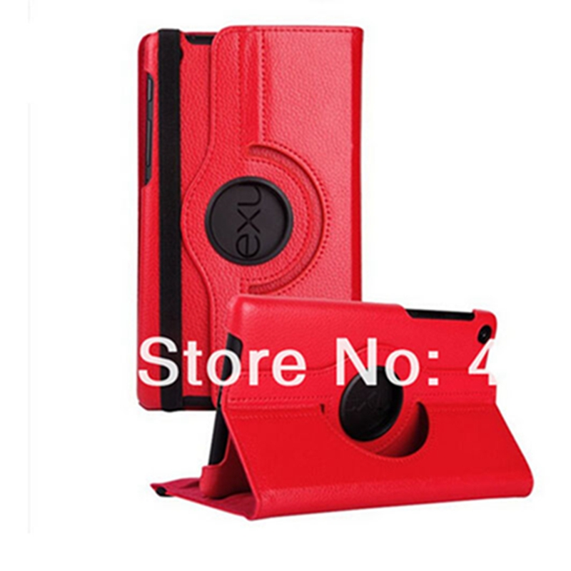 Fashion 360 Degree Rotating PU Leather Smart Stand Cover Case for Google Nexus 7 ii 2013 Case+screen film+stylus pen lichee pattern protective pu leather case stand w auto sleep cover for google nexus 7 ii red
