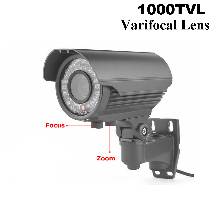 42pcs IR Led HD With IR-CUT Filter Bullet CCTV Camera Varifocal Lens Waterproof Security Camera 1000tvl CMOS Surveillance Camera bullet camera tube camera headset holder with varied size in diameter