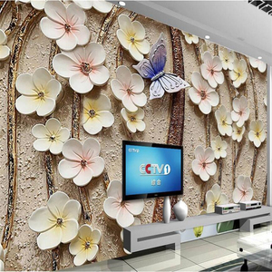 wellyu 3D flower embossed background wall flower butterfly relief mural custom large mural green wallpaper papel de parede
